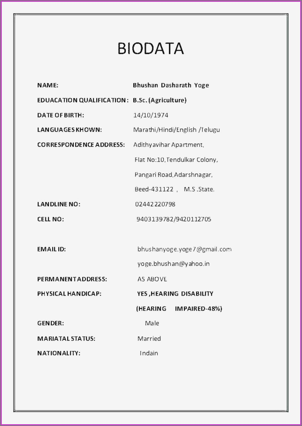 Simple Indian Resume Format In Word