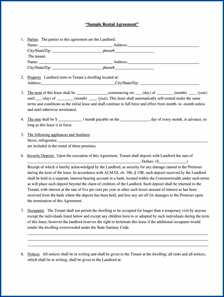 Simple Printable Lease Agreement Template