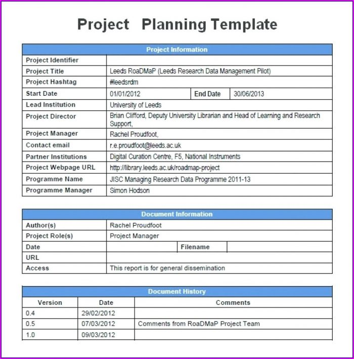Simple Project Plan Template Word Free