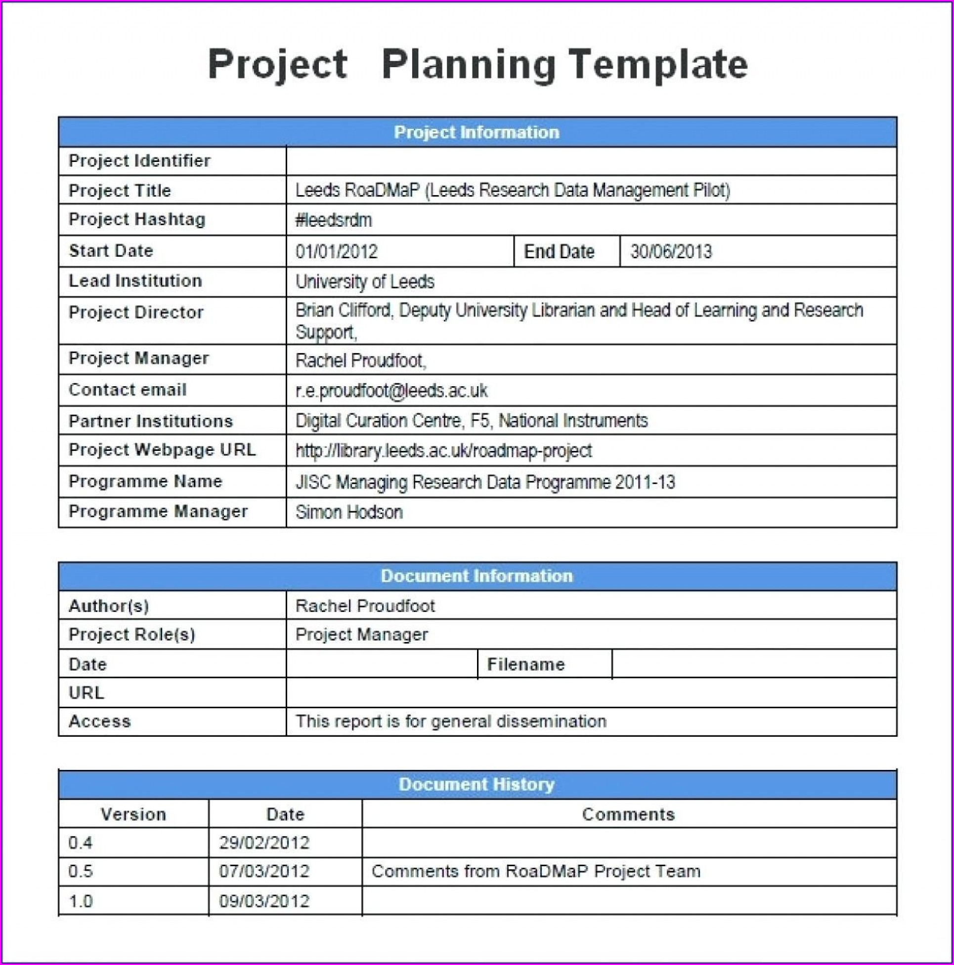 Simple Project Plan Template Word