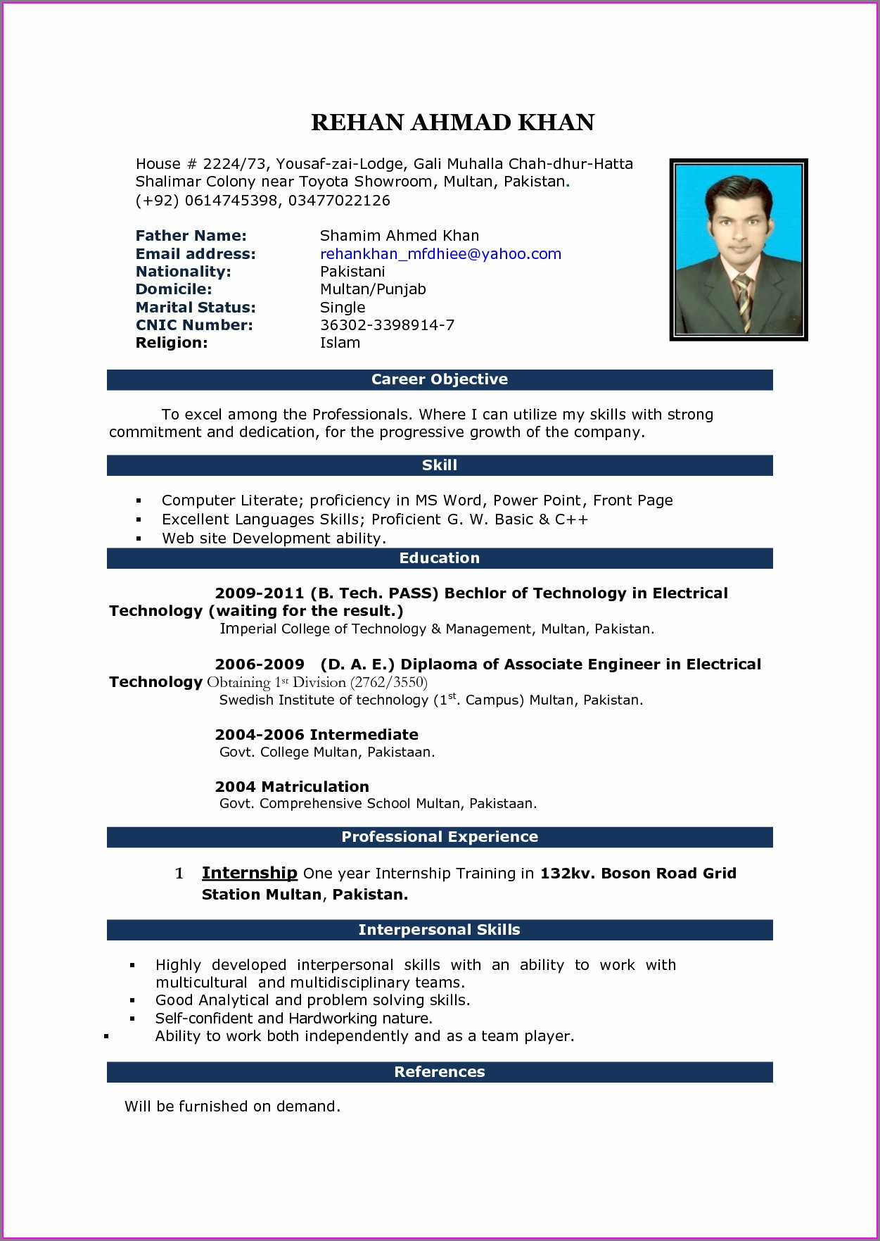 Simple Resume Format In Word For Teacher Job