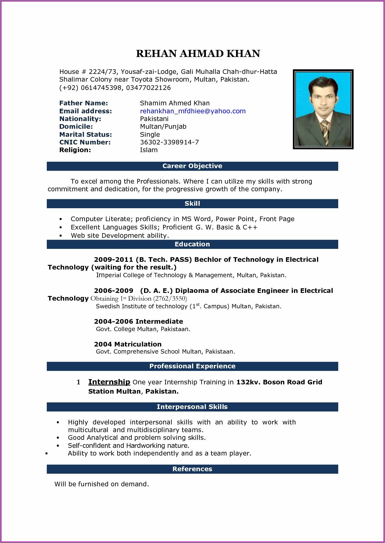 Simple Resume Format In Word For Teacher Job