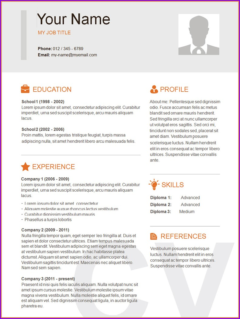 Simple Resume Template Pdf