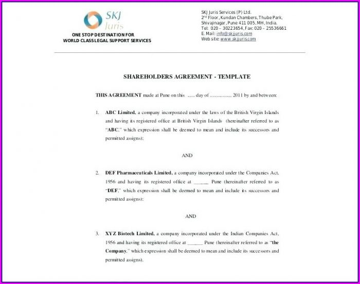 Simple Shareholders Agreement Template
