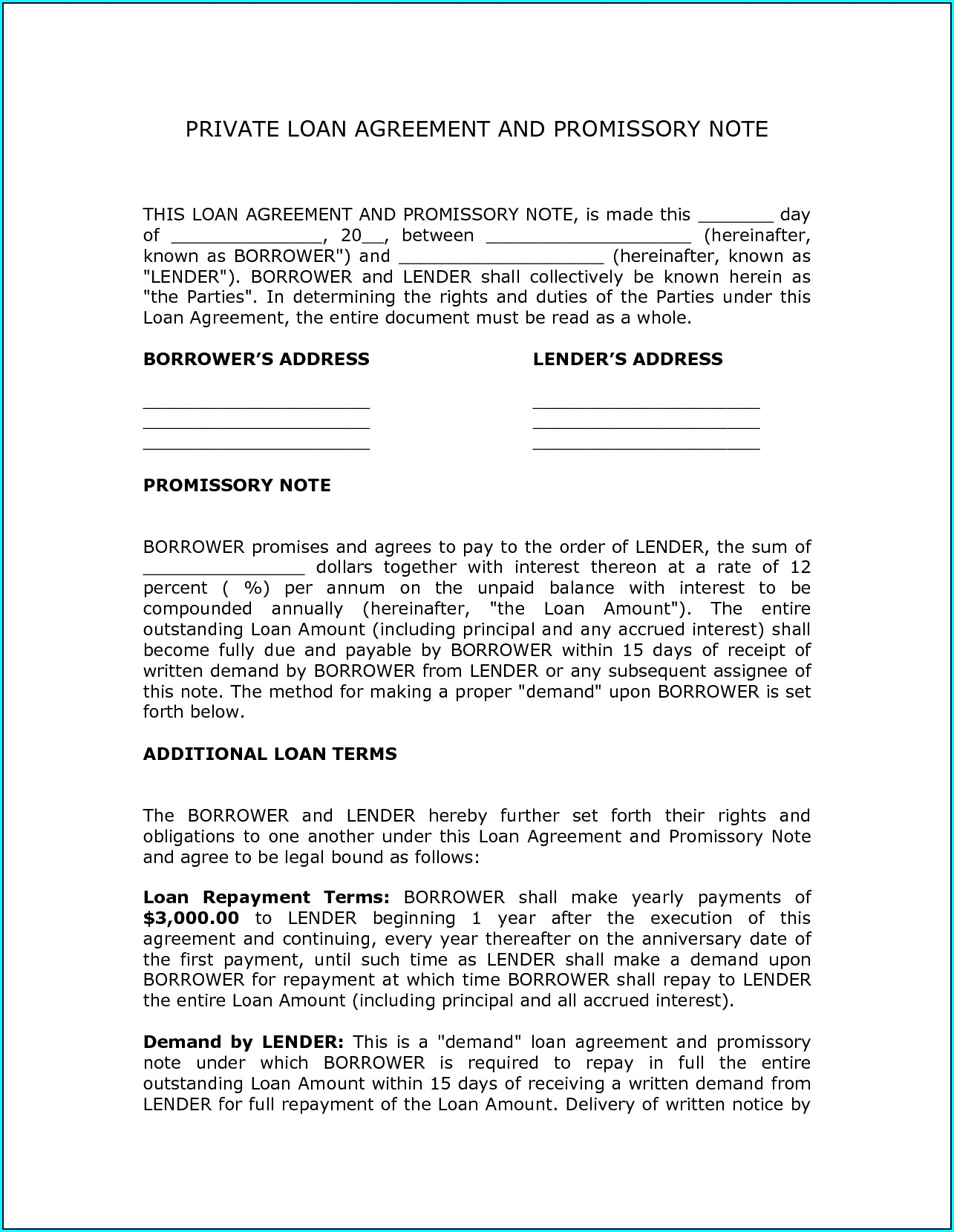 Small Business Loan Agreement Template