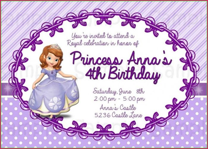 Sofia The First Invitation Template Free