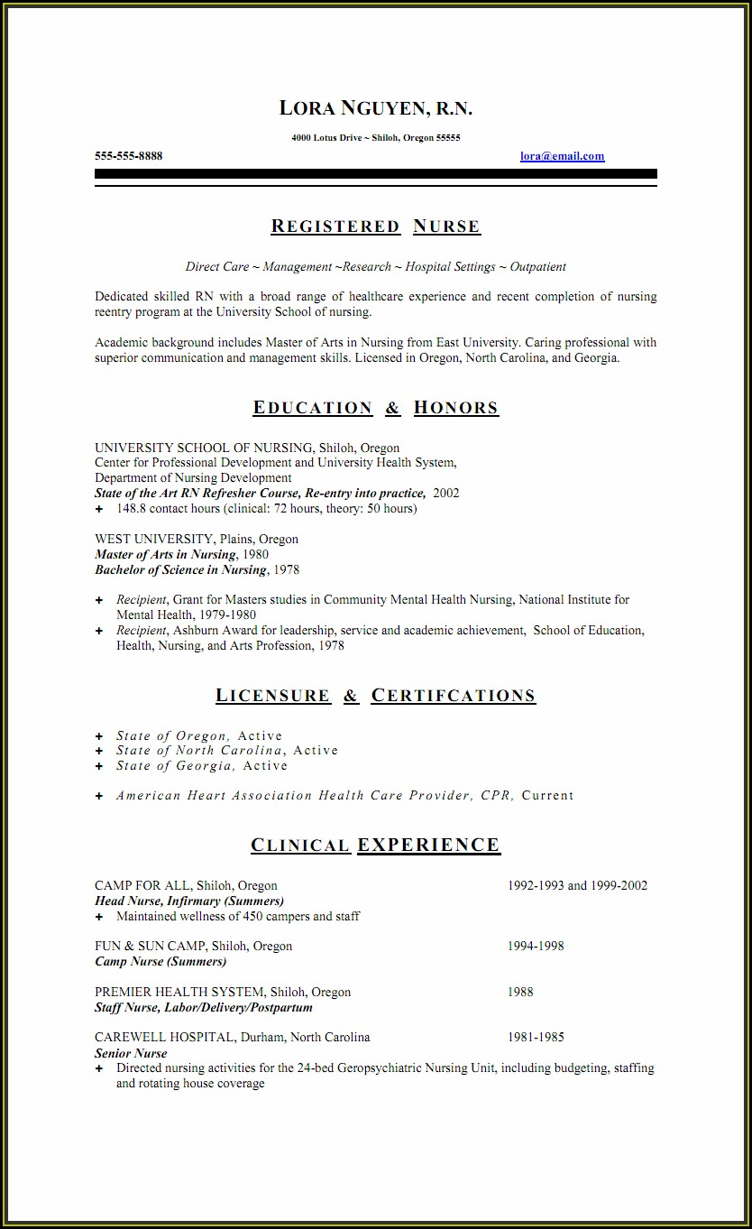 Staff Nurse Registered Nurse Resume Sample