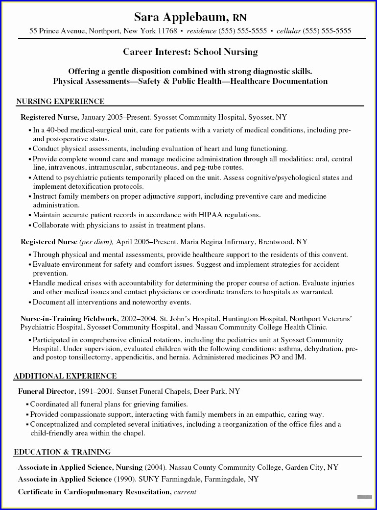 Staff Nurse Rn Resume Sample