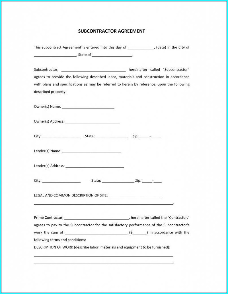 Subcontractor Agreements Template