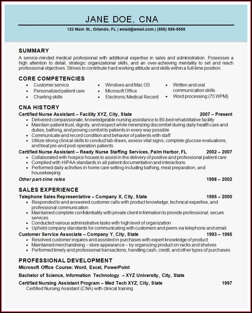 Summary Of Qualifications For Nursing Assistant Resume
