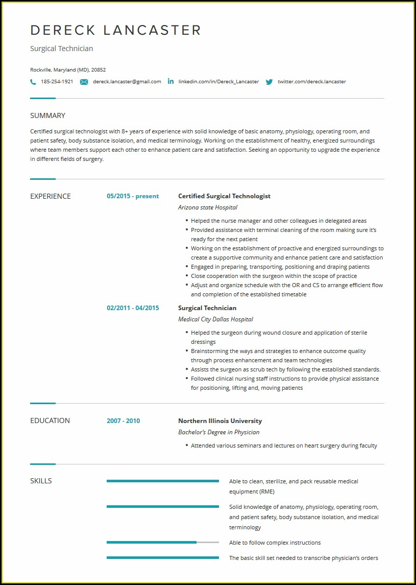Surgical Tech Resume Examples