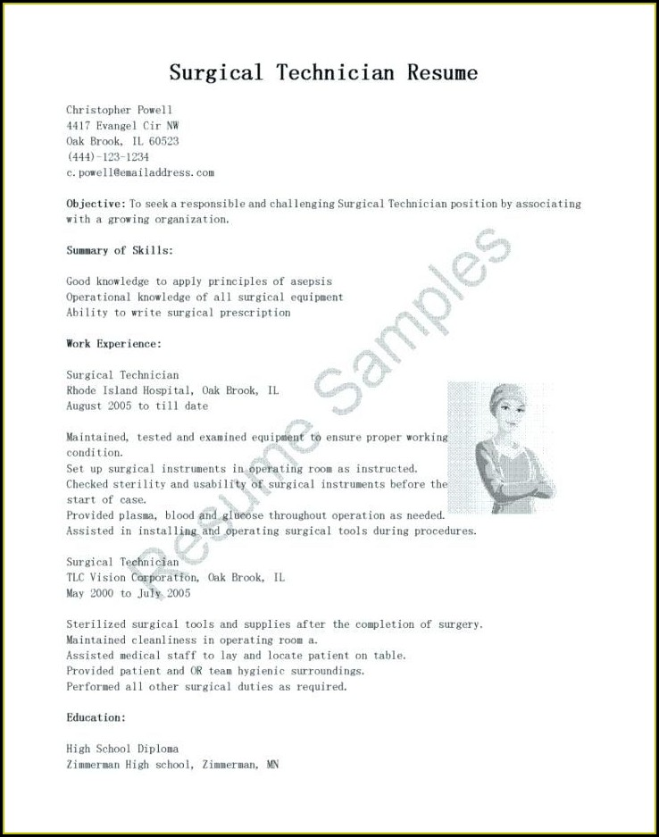 Surgical Tech Resume Objective Sample