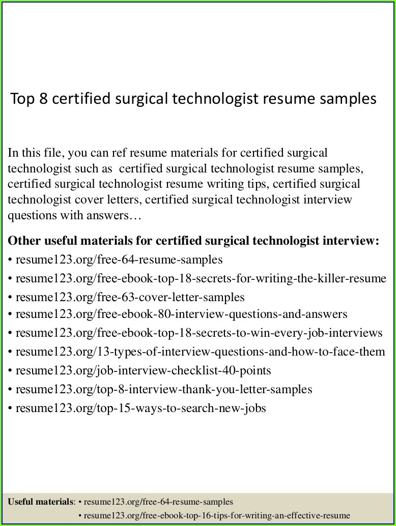 Surgical Tech Resume Template
