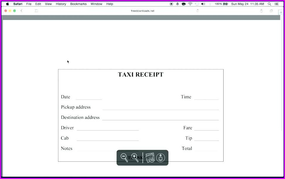 Taxi Invoice Template