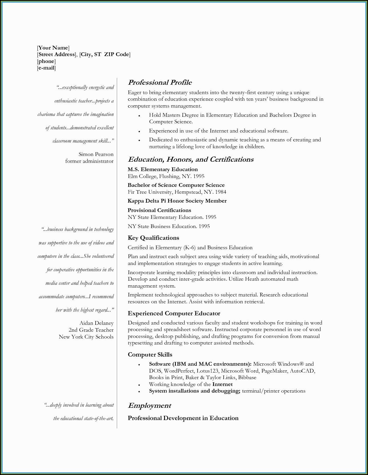 Teacher Cv Template Free Download