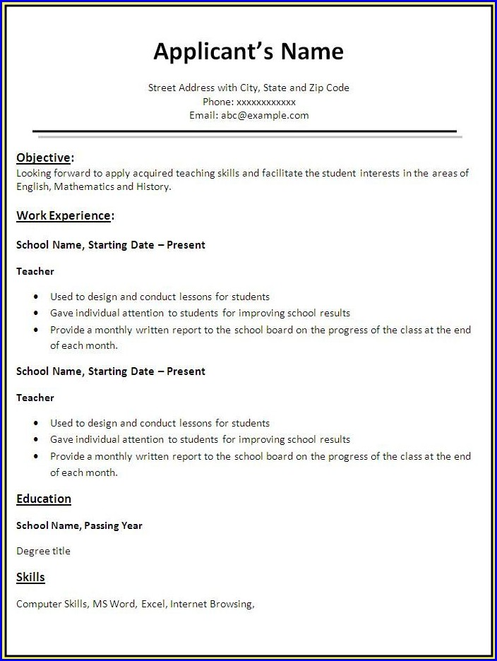 Teacher Resume Templates Free Download