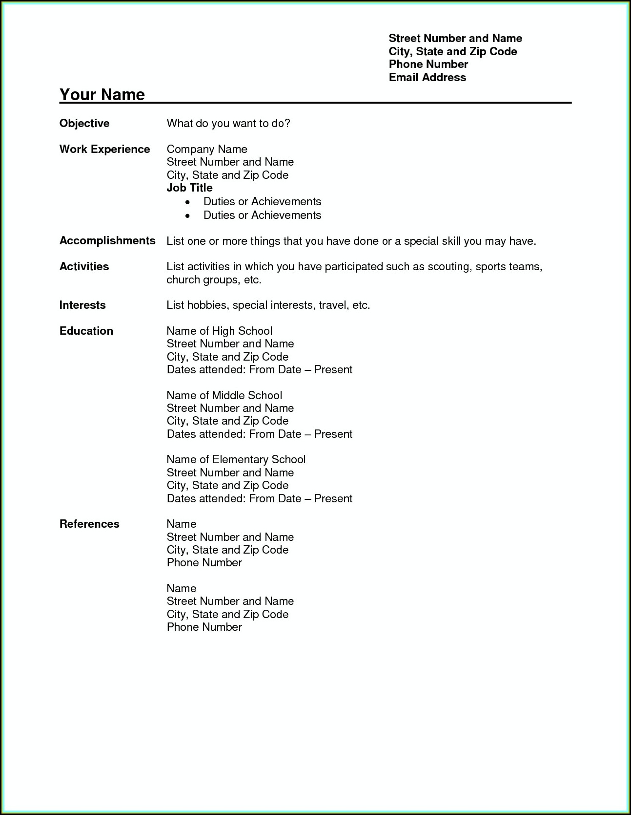 Teacher Resume Templates Word Free Download