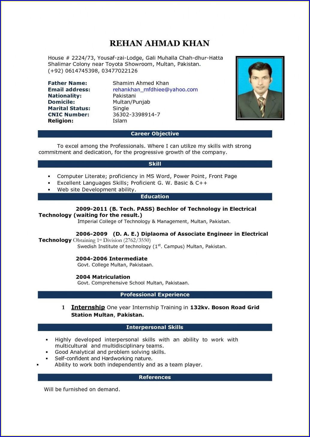 Teaching Cv Templates Free Download