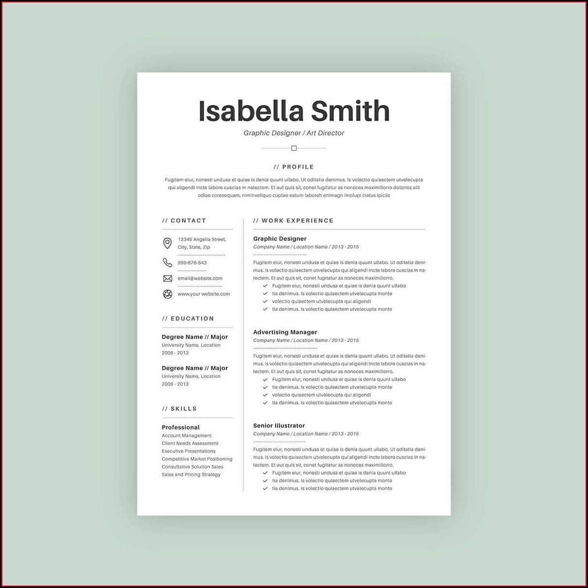 Template Basic Simple Resume Sample