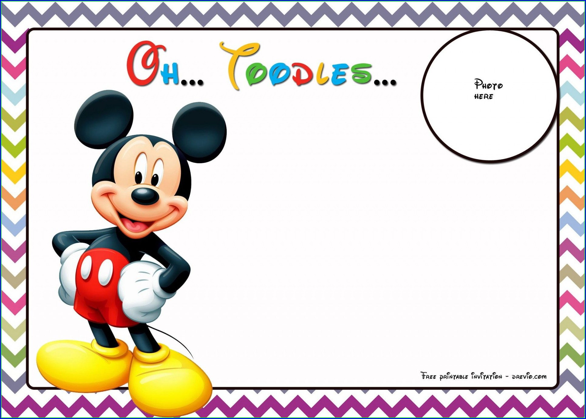 Template Mickey Mouse 1st Birthday Invitations