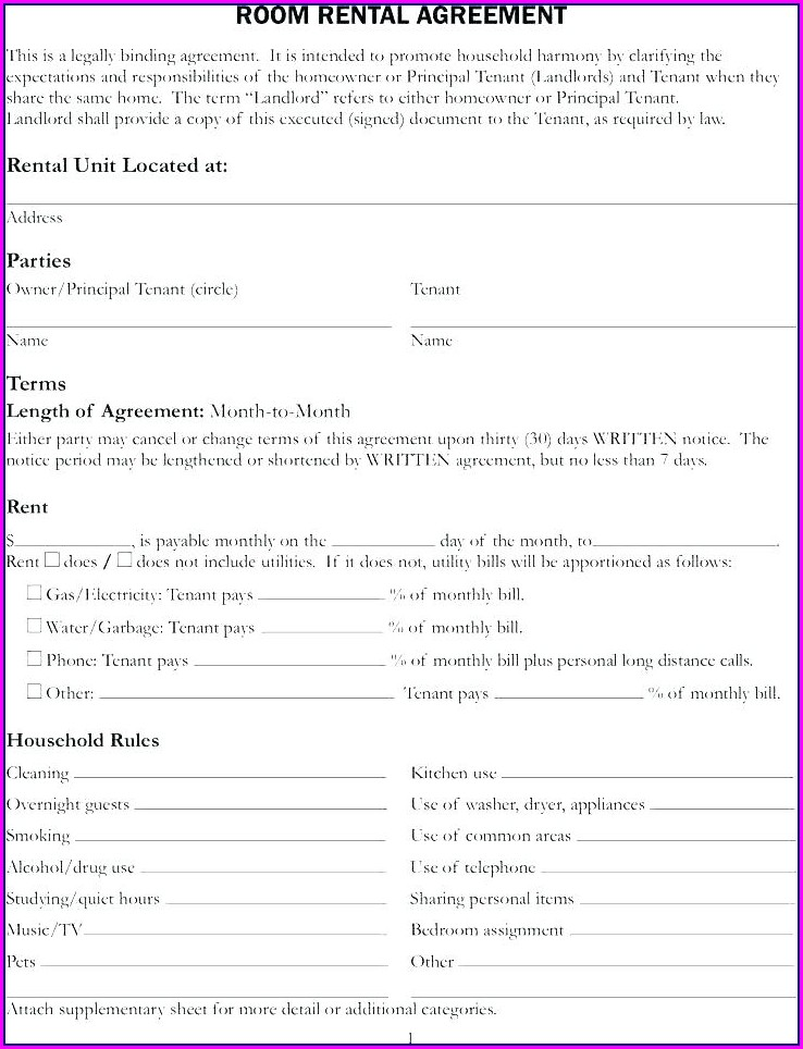 Template Of A Lease Agreement For A Tenant