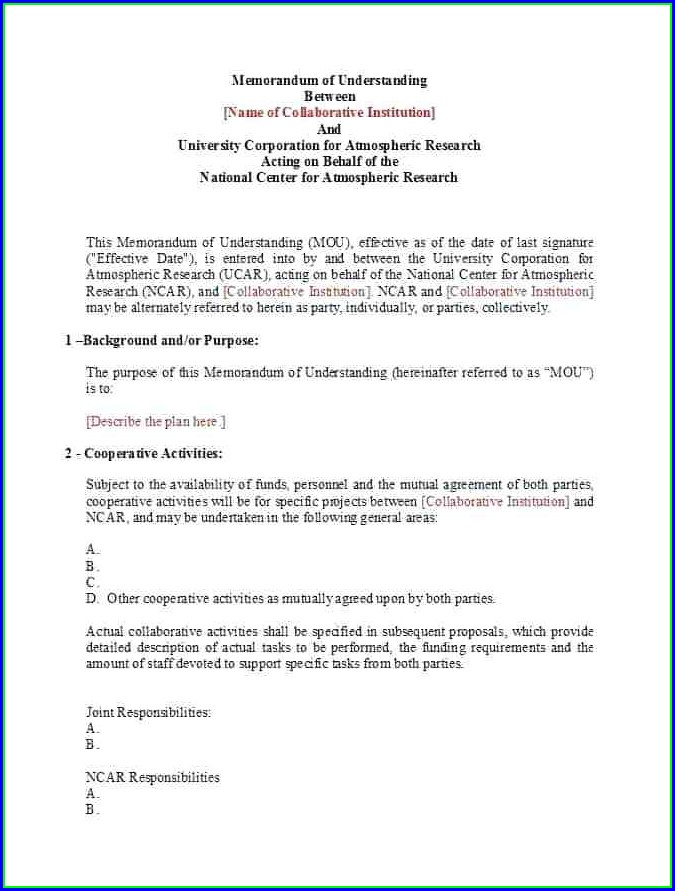 Template Of Mou Agreement