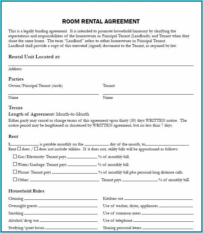Tenancy Agreement Template For Renting A Room Uk
