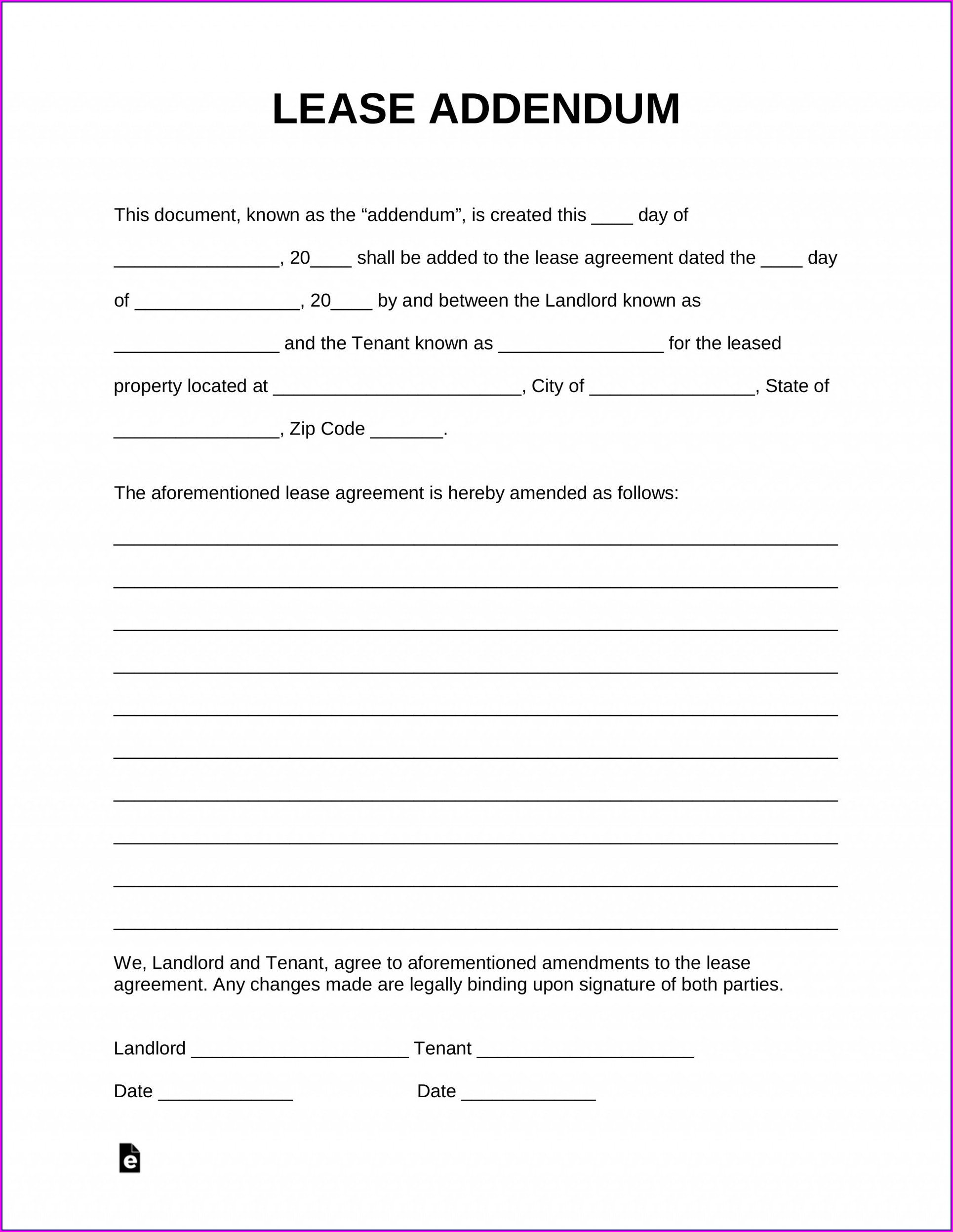 Tenant Lease Addendum Template