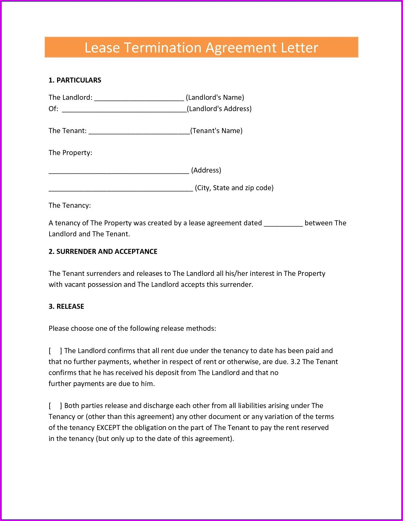 Tenant Lease Termination Letter Template