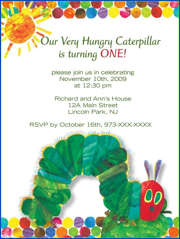 The Very Hungry Caterpillar Invitation Template