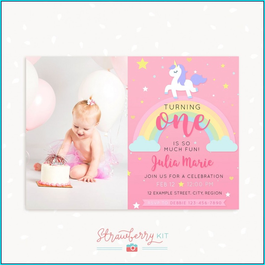 Unicorn Invitation Card Free Template