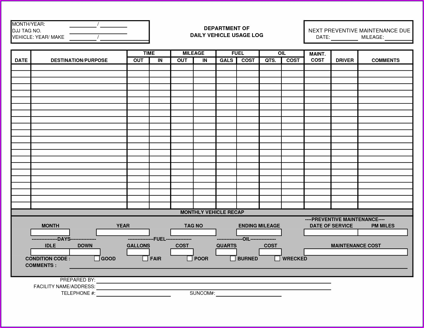 Vehicle Preventive Maintenance Schedule Template Excel