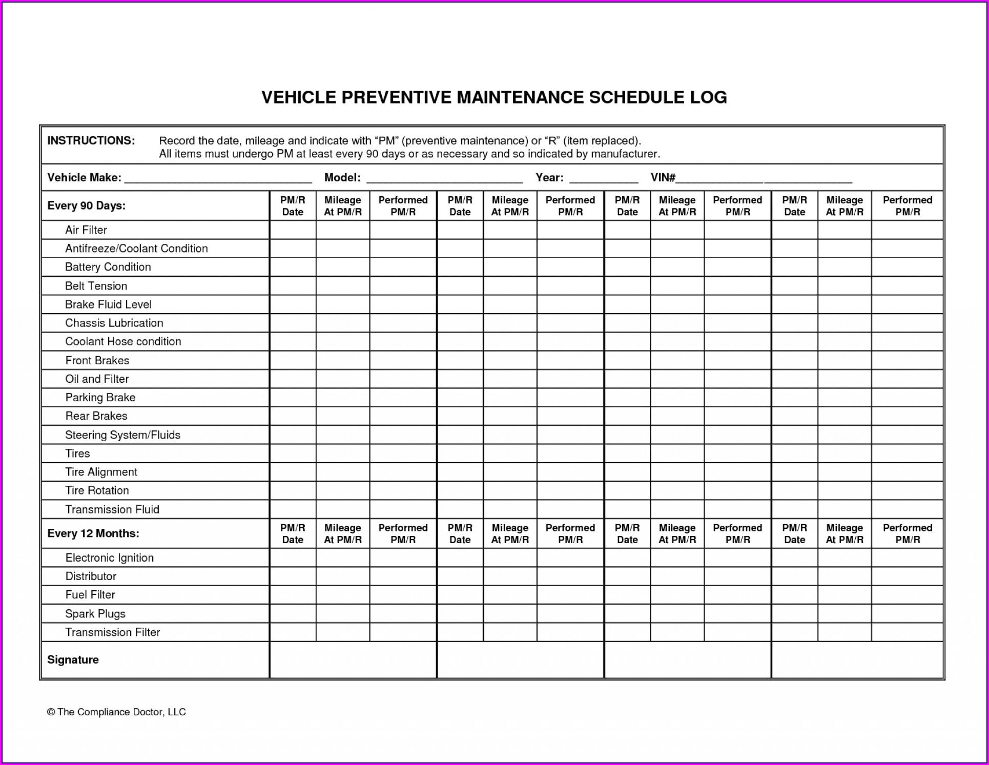 Vehicle Preventive Maintenance Schedule Template