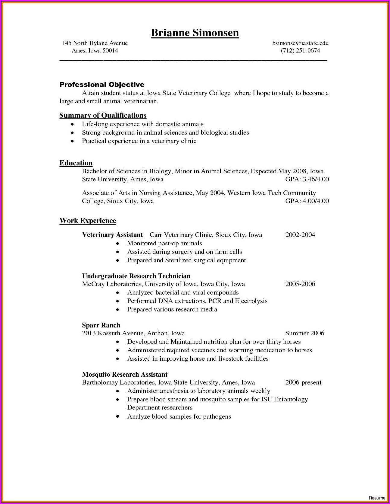 Veterinary Assistant Resume Samples