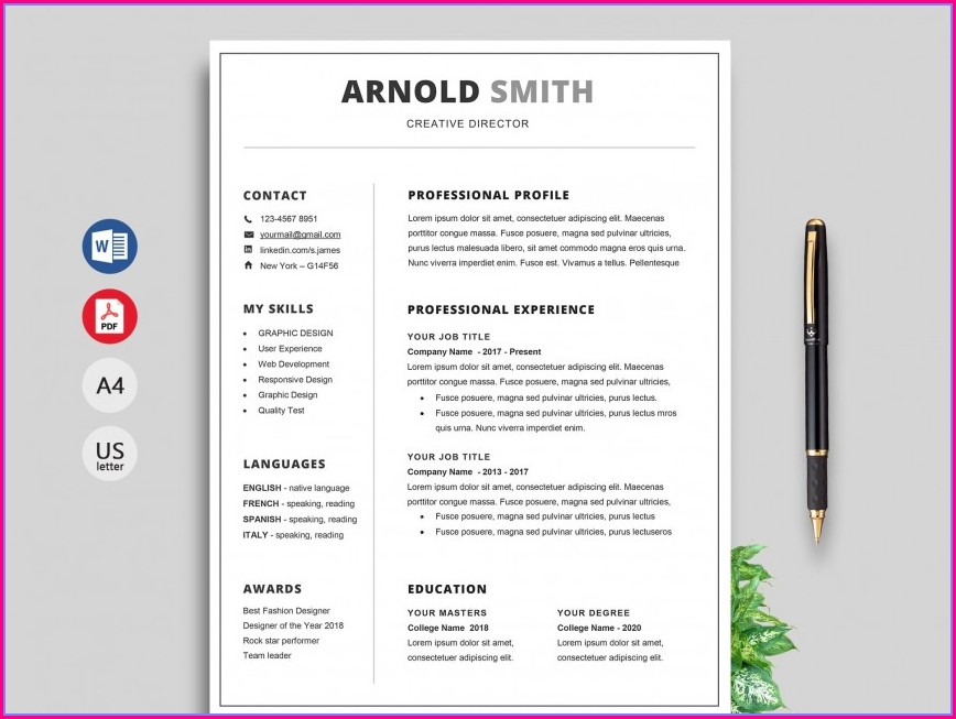 Visual Resume Templates Free Download Doc