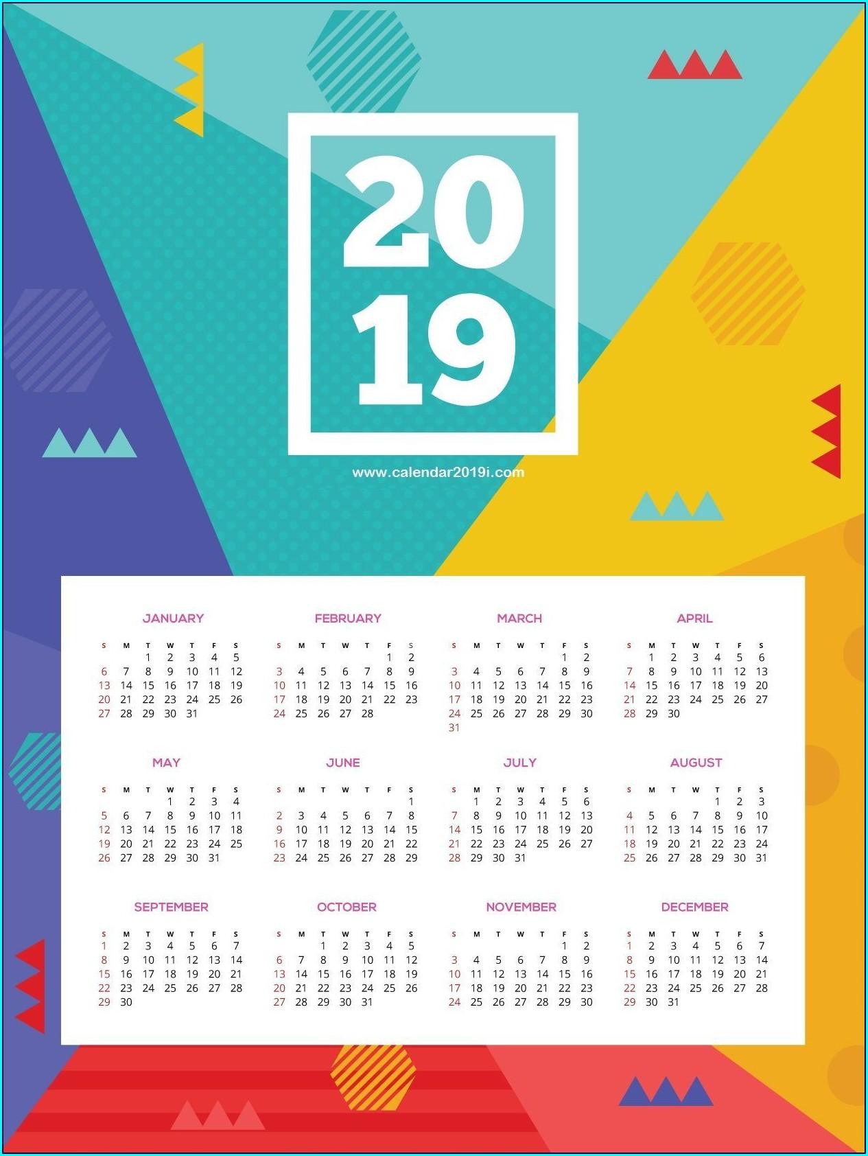 Wall Calendar Template 2019