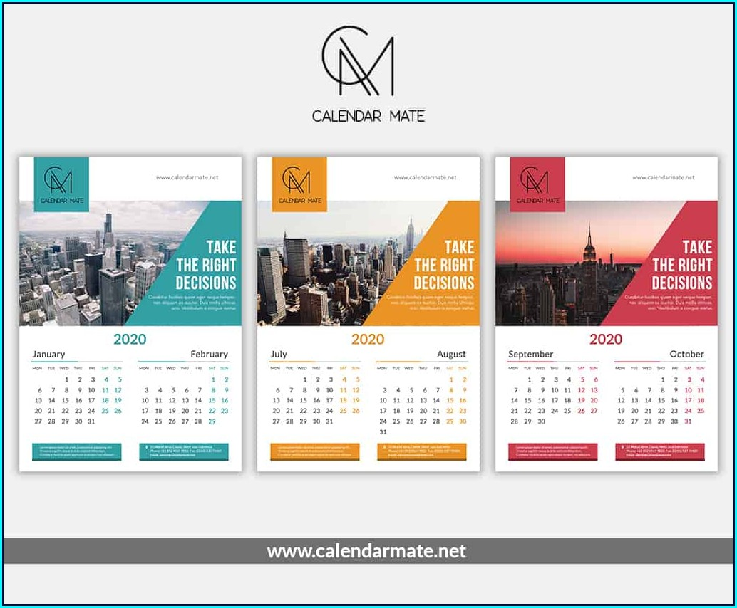 Wall Calendar Template Creative Calendar Design 2020