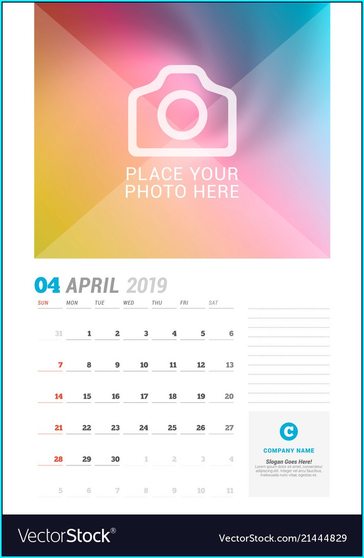 Wall Calendar Template Design