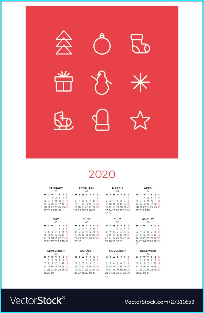 Wall Calendar Template New Year 2020 Calendar Design