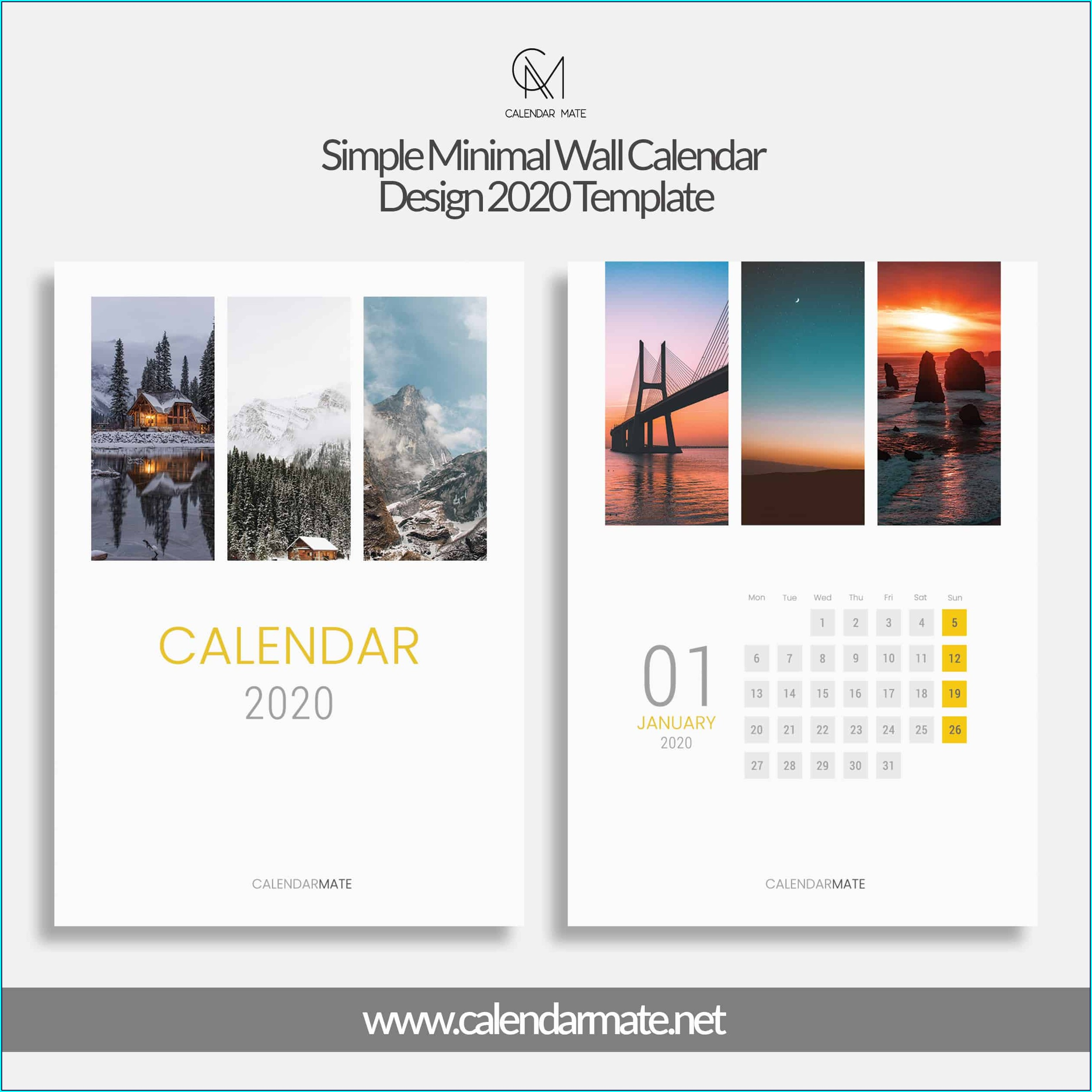 Wall Calendar Templates Best Calendar Design 2020