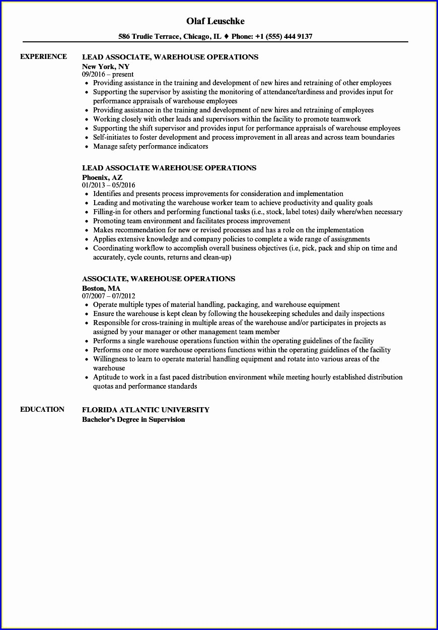 Warehouse Supervisor Resume Cover Letter Sample