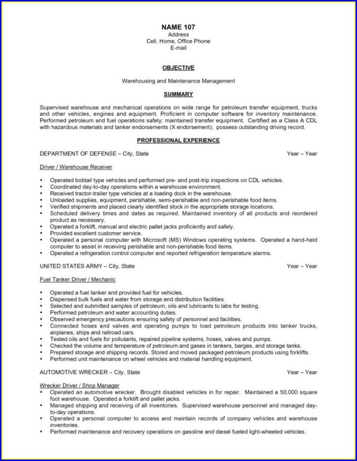 Warehouse Supervisor Resume Summary Examples