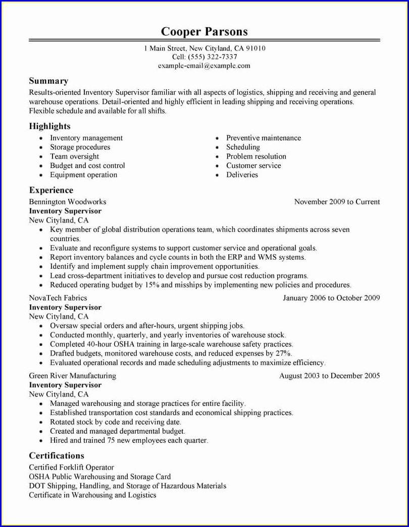 Warehouse Supervisor Warehouse Manager Resume Examples