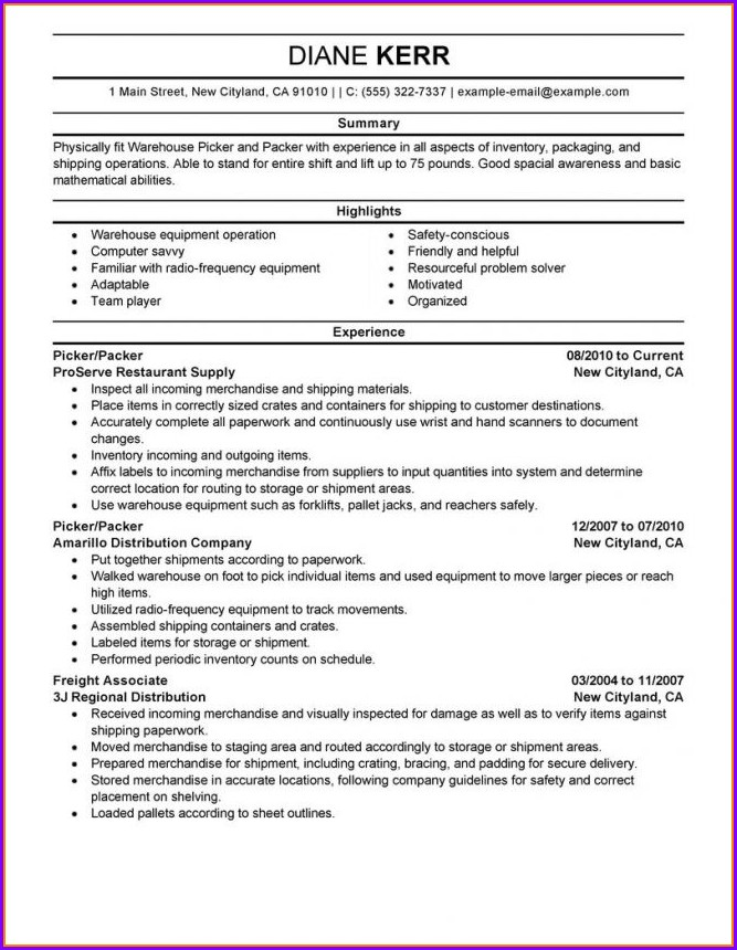 Warehouse Worker Example Of Warehouse Resume