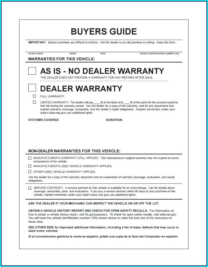 Warranty Repair Form Template
