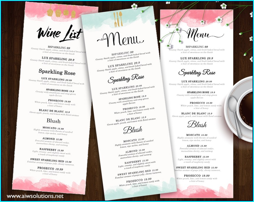 Wedding Bar Menu Template