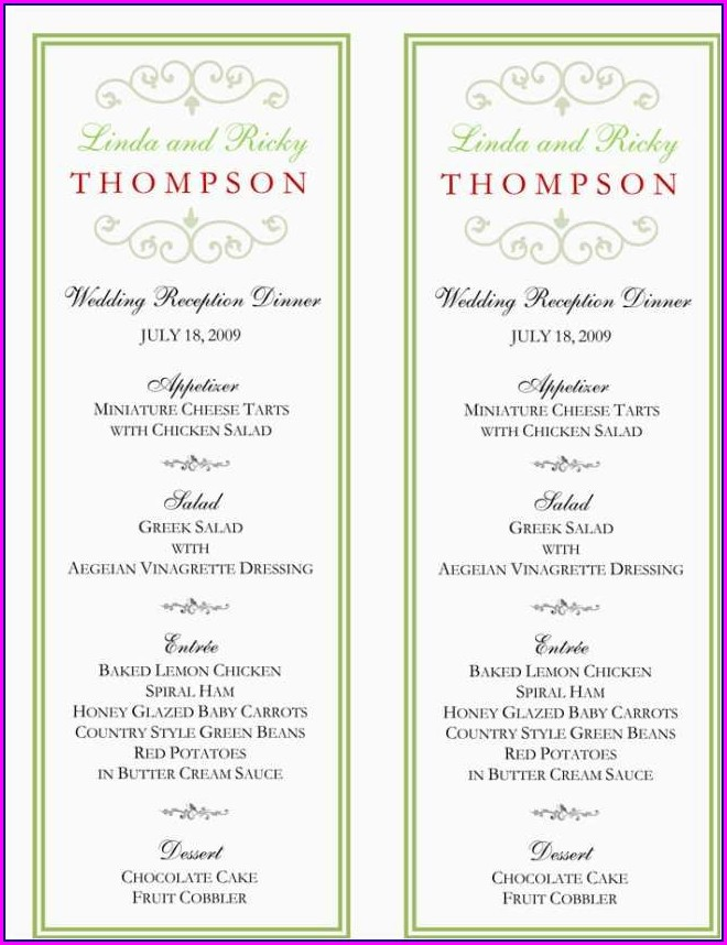 Wedding Buffet Menu Template