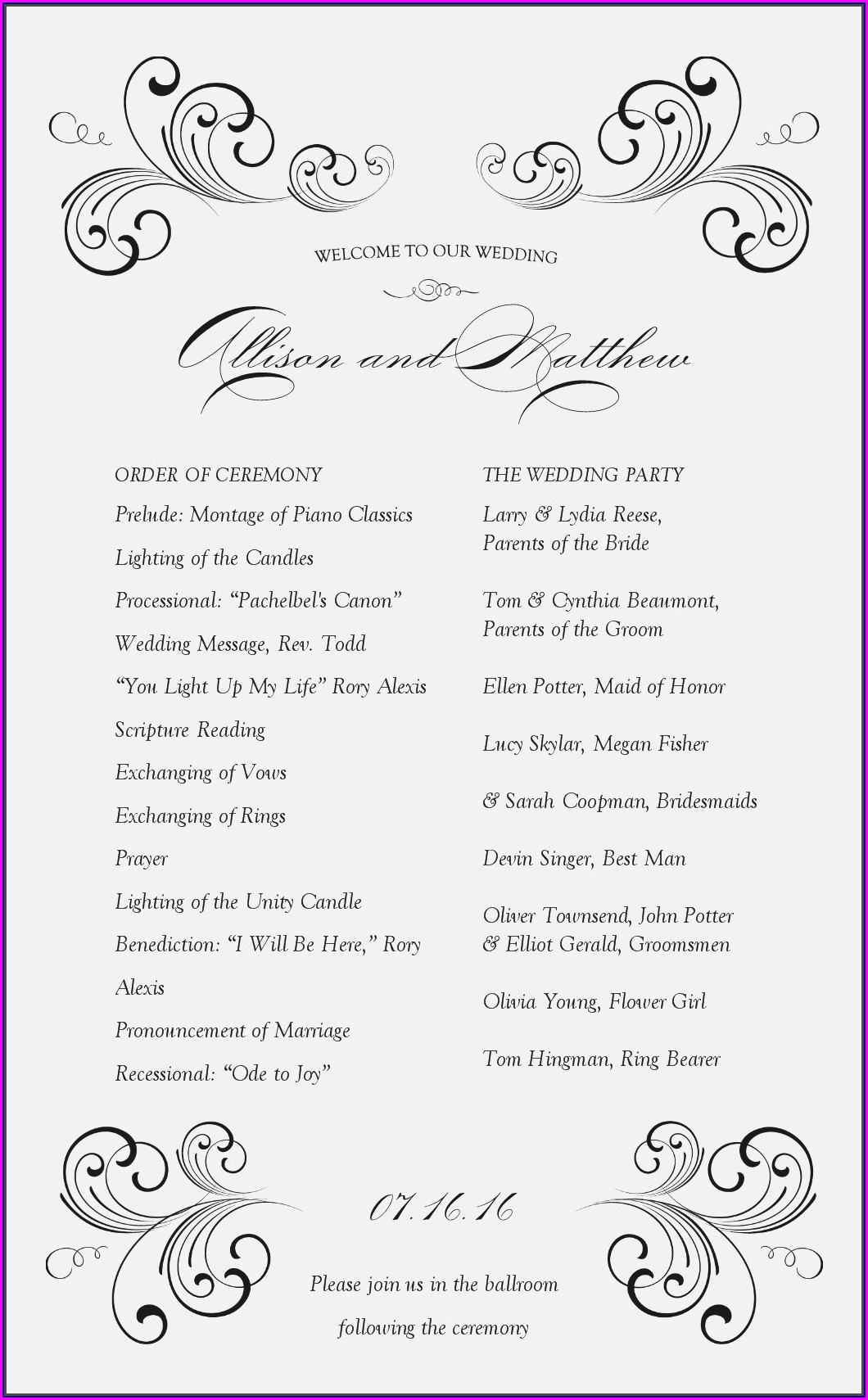 Wedding Reception Itinerary Template