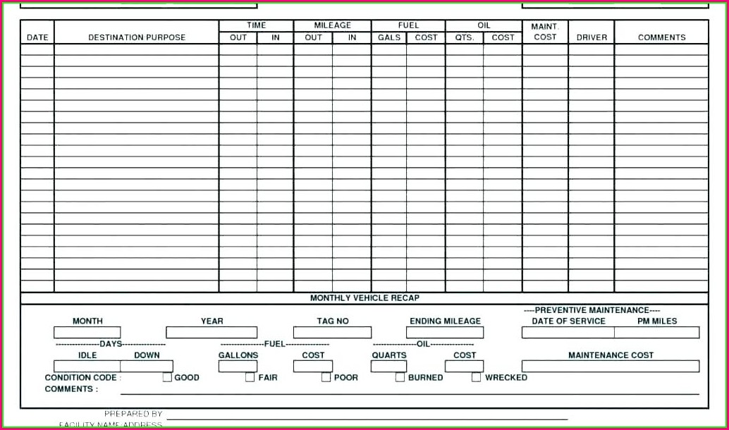 Weekly Maintenance Schedule Template Excel