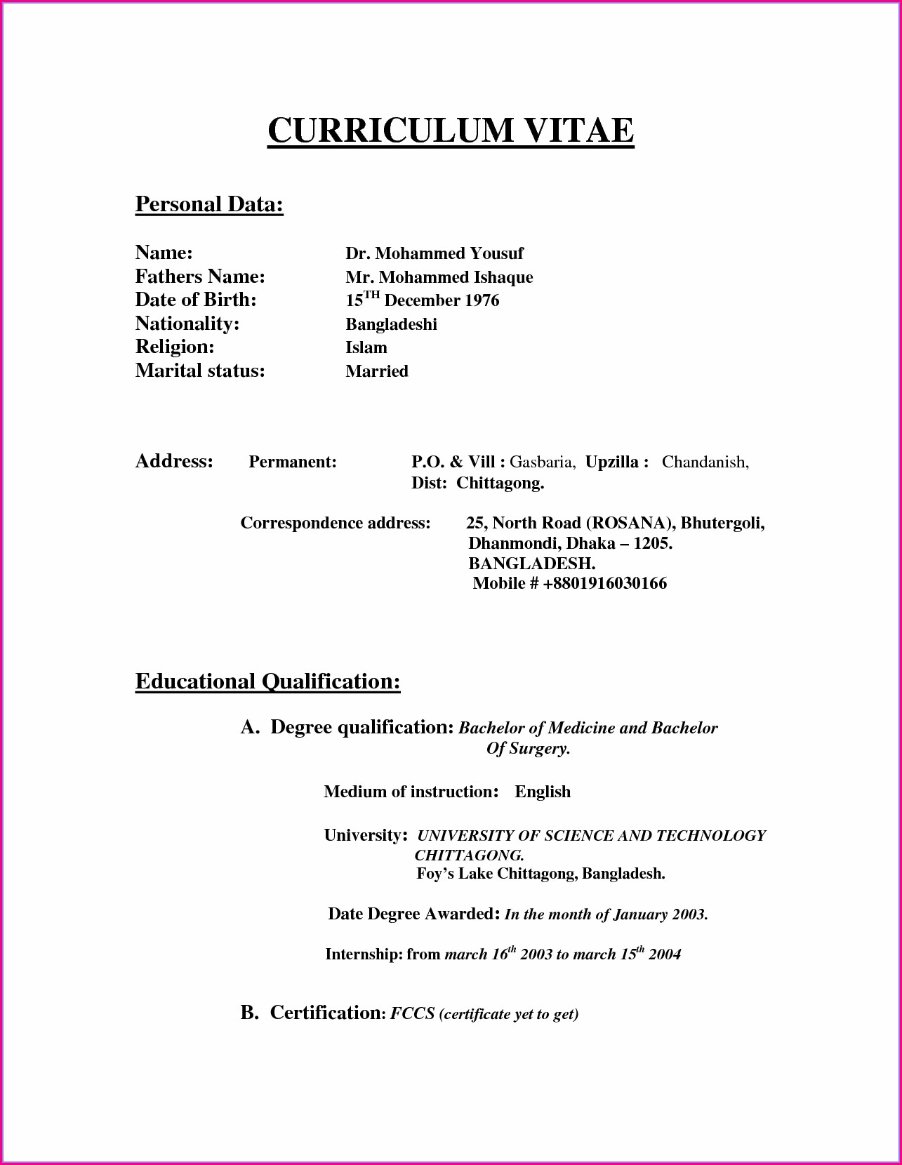 Word Document Cv Format Doc File Free Download